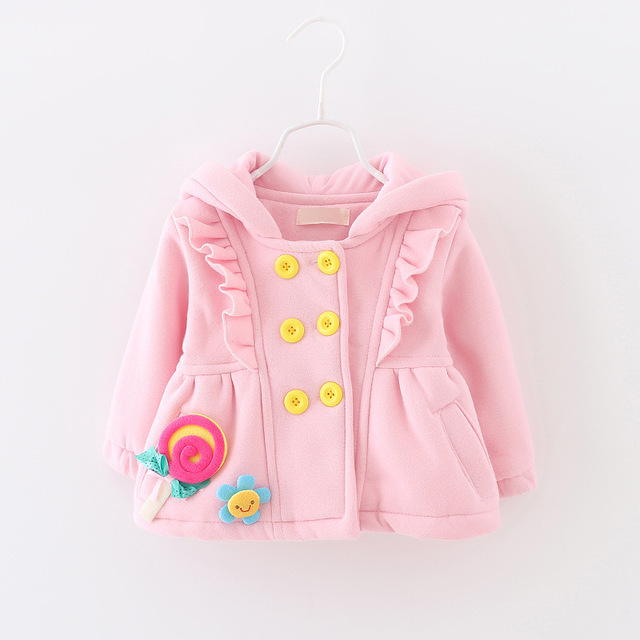 2015 nova primavera outono inverno meninas da Coréia Do estilo boutique trespassado casacos de lã com capuz roupa do bebê outwear 3 cores