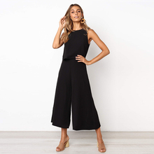 2019 NEW Summer fashion casual zipper female jumpsuit sexy street style female jumpsuit loose wide leg pants jumpsuit quik lok a302 bk