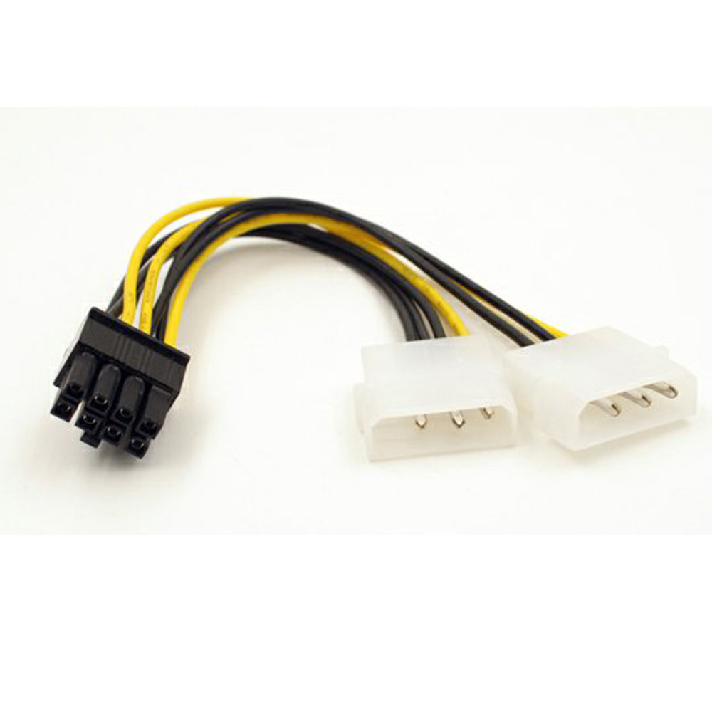 18cm Dual Molex LP4 4 Pin To 8 Pin PCI-E Express Converter Adapter Cable Wire CPU Power Supply Extension Cord Connector Adapter