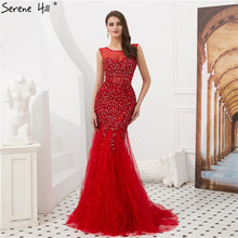 Serene Hill Sexy Sheer Neckline Red Mermaid Evening Dress