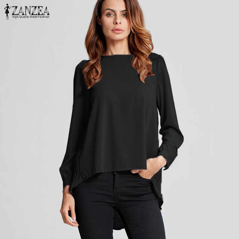 ZANZEA 2019 Herfst Vrouwen Oversized Sexy Toevallige Losse Chiffon Tops Lange Mouwen Solid Shirts Dames Blouses Plus Size Blusas