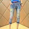 2016 летние новые джинсы брюки семь женщин вышитые отверстие носить белые бриджи от имени приливные ноги