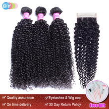 BY Hair 3 Bundles With Closure Brazilian Kinky Curly Human Hair Weave Remy Hair Extensions Bundles With Closure(China)