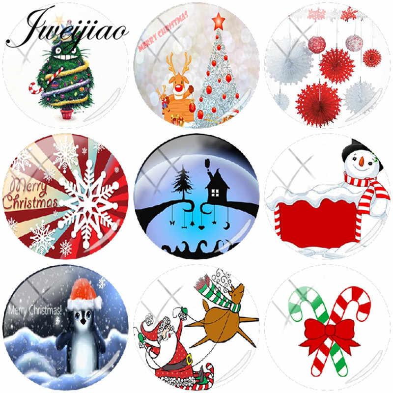 JWEIJIAO, Рождественская елка, снеговик, художественная картина, сделай сам, стеклянный кабошон, купол, на заказ, брелок, ожерелье, серьги, подарок на Новый год