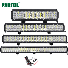 Partol 12″ 20″ 23″ 31″ 3-Row 6D LED Light Bar Offroad Led Bar Combo Beam Driving Work Light Truck SUV ATV 4×4 4WD 12V 24V 6000K
