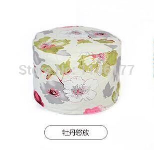 Ywxuege lazy fabric sofa stool peony blossom style Home Office circular seating stool washable canvas newspaper no filler