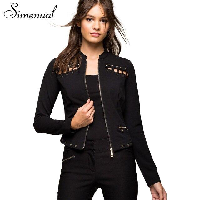 Simenual 2017 Fashion new zipper basic coats jackets for women hollow out slim black short jacket female coat outwear streetwear