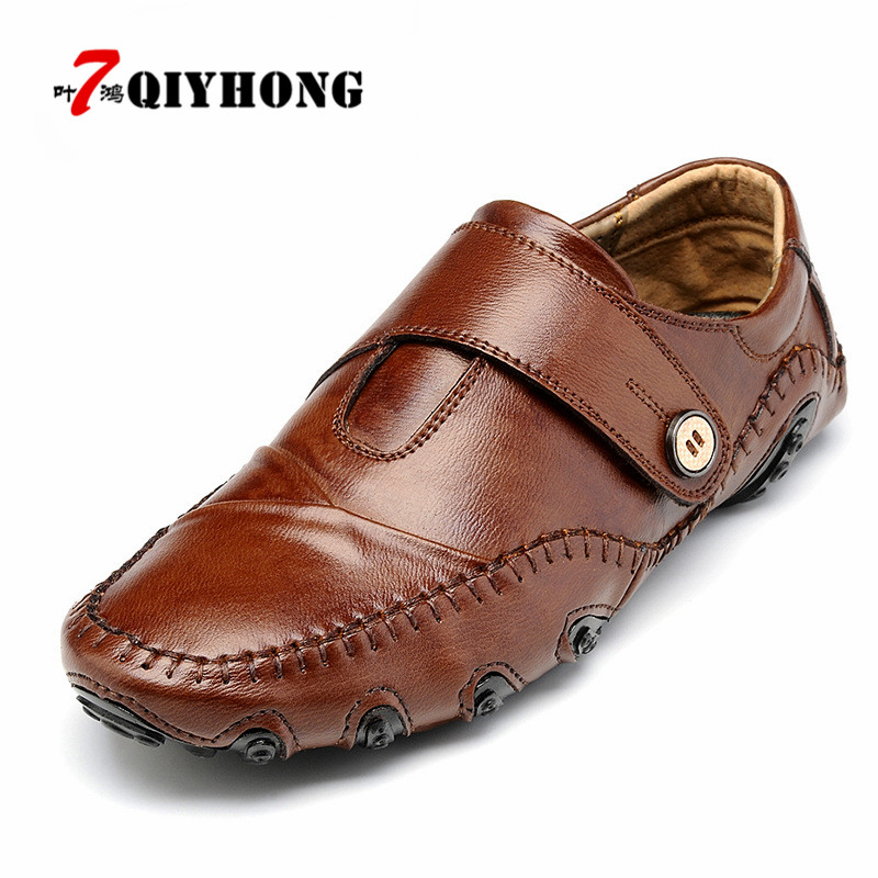 Handmade Genuine Leather Men's Flats Casual Luxury Brand Men Loafers Comfortable Soft Driving Shoes Slip On Leather Moccasins hot sale mens italian style flat shoes genuine leather handmade men casual flats top quality oxford shoes men leather shoes