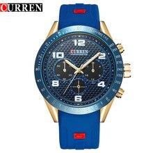 Новая Мода Случайные мужские Кварцевые Часы Мужчины Спортивные Часы Мужчины Марка Curren Часы Синий Резиновый Ремешок Часы Relogio Masculino C8167