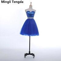 Short Sleeveless Bridesmaid Dresses Blue Bridesmaid Dresses Ruched Crystal Dresses Sequined Party Dress Mingli Tengda