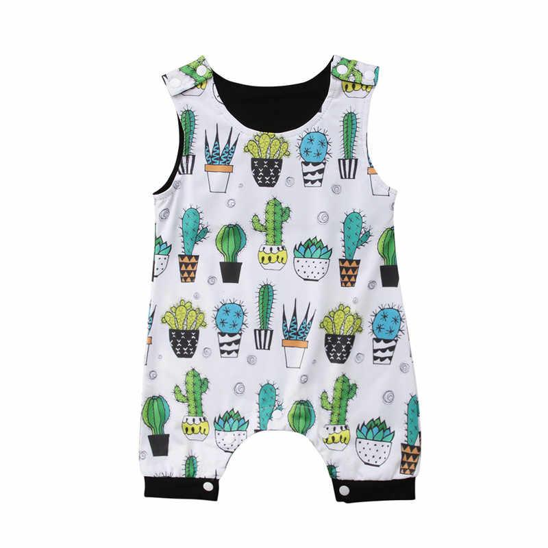 96265d32458 Cute Cactus Print Newborn Infant Rompers Cotton Baby Clothing Kids Boy Jumpsuit  One-Pieces Harem