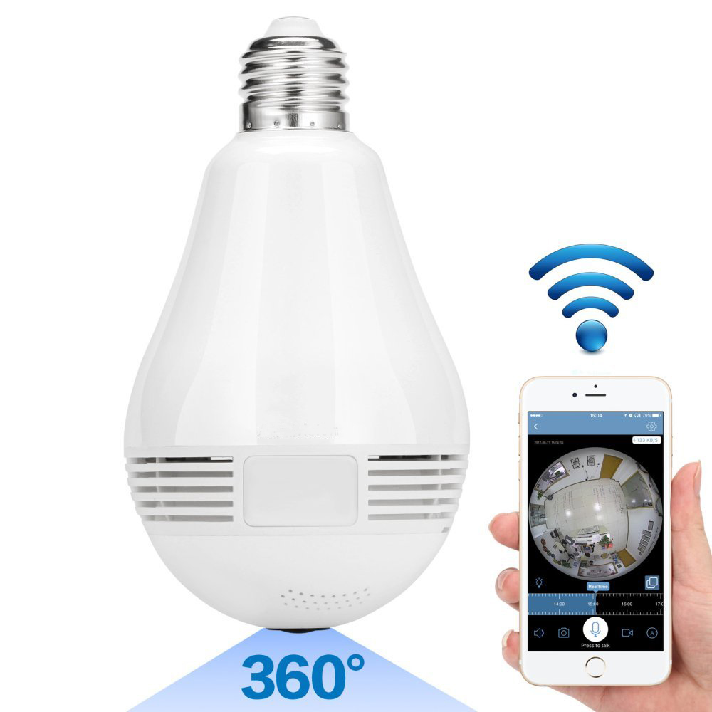 360 degrés E27 RGB Smart WiFi lumière LED ampoule de caméra avec capteur de mouvement V380 960 P enregistreur IP sans fil pour la sécurité à la maison