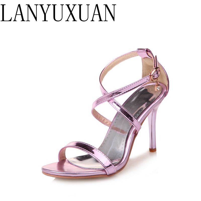2017 New Hot Fashion Shoes Women Thin High Heels Buckle Strap Sexy Summer Women Pumps for Party/Wedding Plus Size 3-19 171 summer new large size denim shorts female high waist jeans thin 2017 new fashion women slim belly short pant
