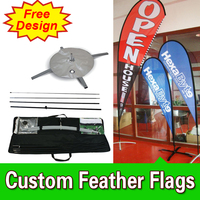 Free Design Free Shipping Double Sided Cross Base Teardrop Flag Signs Advertising Open Banner Flag Custom