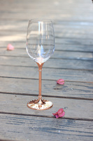 2015 New Design Hot Sale Lead Free Clear Crystal 412ml Wine Glasses With Rose Gold Stem