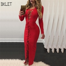 2018 New Arrival Women Bandage Dress Knit Solid Long Sleeve Party Bodycon Sweater Red Long Dresses For Female High Quality
