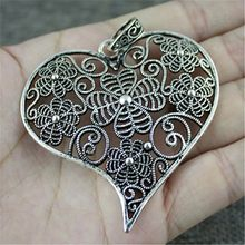 1 colgante de corazón tallado de filigrana de 74x63mm para hacer joyas