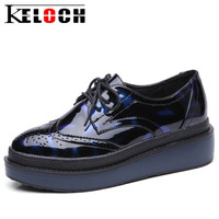 Keloch New Fashion Women Oxfords Shoes PU Leather Female Casual Black Blue Brogue Shoes Chaussure Femme
