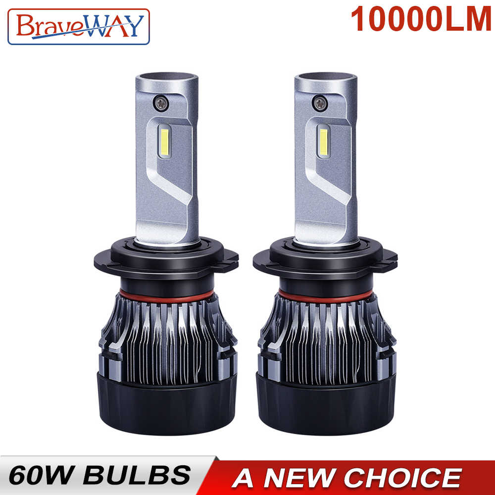 BraveWay 60W 10000LM 6500K H7 LED Bulbs for Car 12V 9012 9005 9006 HB3 HB4 H11 H4 Led Headlight for Motorcycle Auto (LED CANBUS)