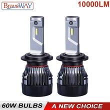 BraveWay 60W 10000LM 6500K H7 LED Bulbs for Car 12V 9012 9005 9006 HB3 HB4 H11 H4 Led Headlight Motorcycle Auto (LED CANBUS)