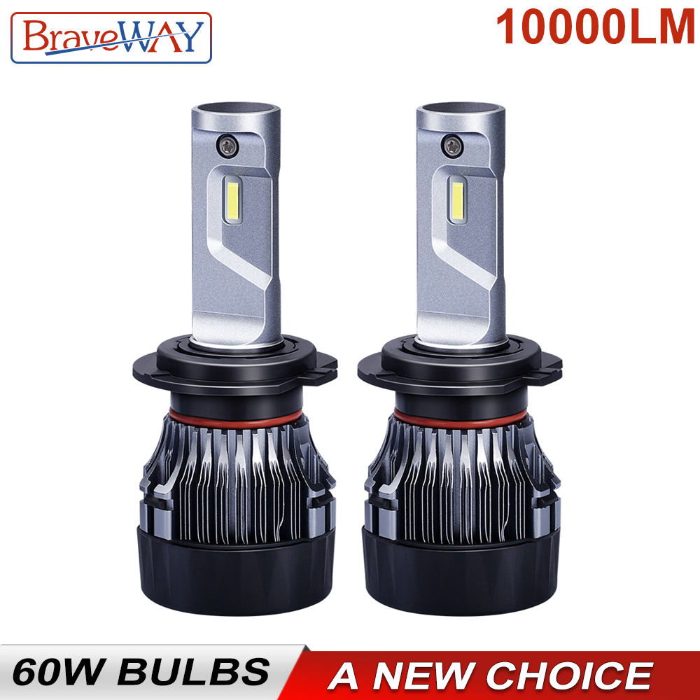 BraveWay 60W 10000LM/pair 6500K H7 LED Bulbs for Car 12V 9012 9005 9006 HB3 HB4 H11 H4 Led Headlight for Motorcycle Auto Lamps