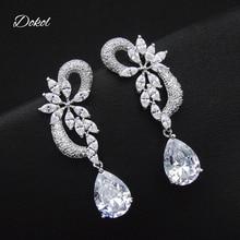 DOKOL Luxury Clear CZ Bridal Earrings for Wedding Silver Color Women Jewelry Inlay AAA+ Zircon Drop Earring brincos DKE0080