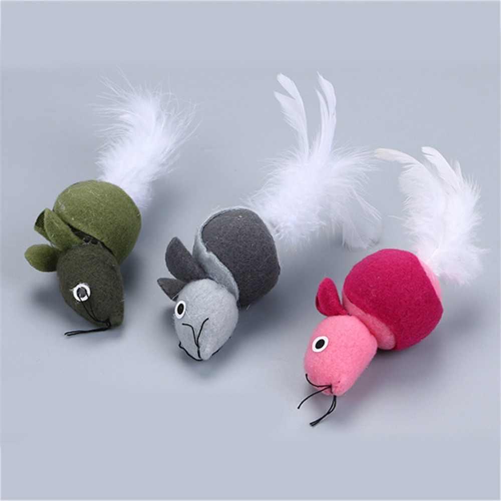 3 색 플러시 마우스 고양이 장난감 깃털 꼬리와 고양이 민트 애완 동물 고양이 훈련 대화 형 장난감 고양이 용품