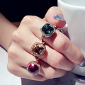 Fashion Sparkling Big Square Green Red Champagne Crystal Stone Engagement Party Ring Gold Plated Women Jewelry Accessories