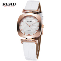 READ Luxury Wrist Watch Woman Rose Gold Fashion Quartz Watch Women White Leather Strap Casual Ladies
