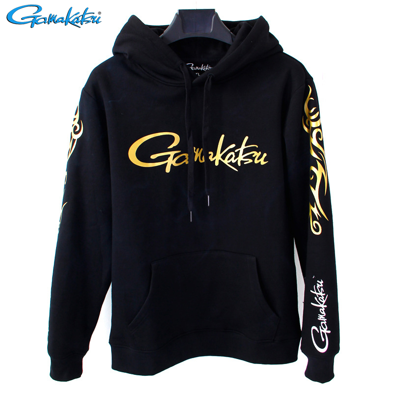 Gamakatsu Autumn Winter Men Fishing Hooded Pluse Velvet Sports Outdoor Warm Long Sleeve Sweaters Breathable Hoodies For Fishing