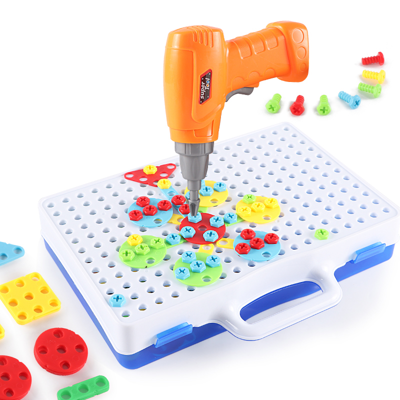 Tool Toys Pretend Play Bright Building Blocks Electric Drill Nut Disassembly Match Tool Children Educational Assembled Block Set Boys Toys For Kid Gifts New