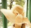 Fashion Women Wide Large Brim Floppy Summer Beach Sun Straw Hat Cap with big bow Free Shipping