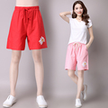 Lotus Printed Pink Red Green New Fashion Women's Summer High Waist Stretch Denim Shorts 2017 Slim Casual Women Shorts