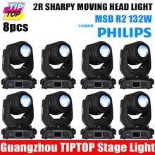 TIPTOP 8 XLOT 14CH DMX512 2R 132 W Punto Principal Móvil de la Viga luz Del Disco de DJ Del Club Luz de la Etapa Óptico 3-lente 8-cara Giratoria prisma