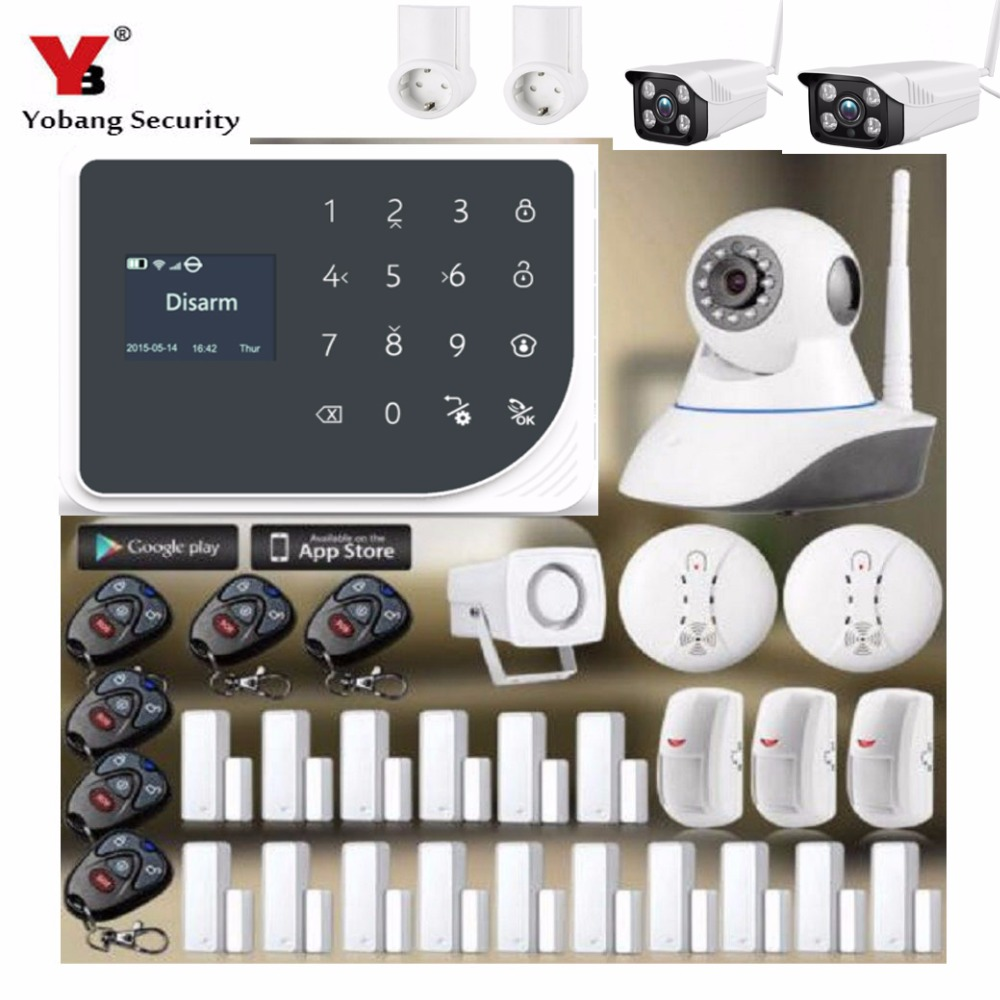 YobangSecurity WiFi GSM GPRS SMS Wireless Home House Security Intruder Alarm System Video IP Camera Smart Socket APP Control dhl ems free shipping 2 4g wifi gsm gprs sms wireless home house security intruder alarm system wireless flash siren