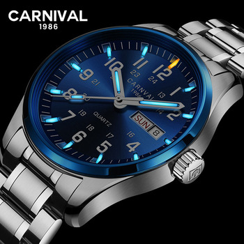 Carnival tritium T25 luminous Double calendar military Switzerland Quartz watch men luxury brand watches waterproof clock 2017