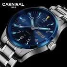 Carnival tritium T25 luminous Double calendar military Switzerland Quartz watch men luxury brand watches waterproof clock 2017