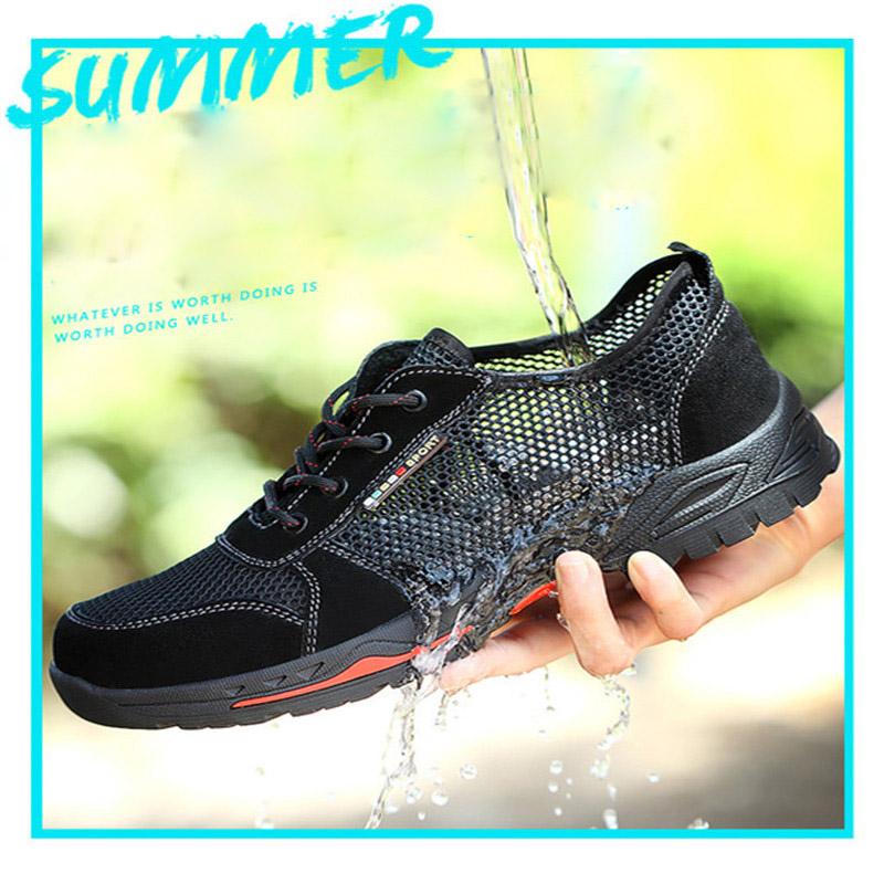 2019 New Labor Insurance Shoes Steel Toe Caps Summer Breathable Deodorant Lightweight Anti-mite Stab Leisure Safety Site Shoes