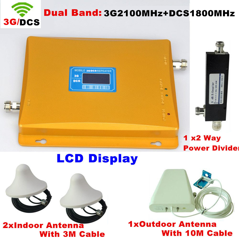 LCD Display Dual Band DCS 1800MHz + 3G W-CDMA 2100mhz Cell Phone Signal Booster / Repeater / Amplifier + 2 Sets Indoor Antenna