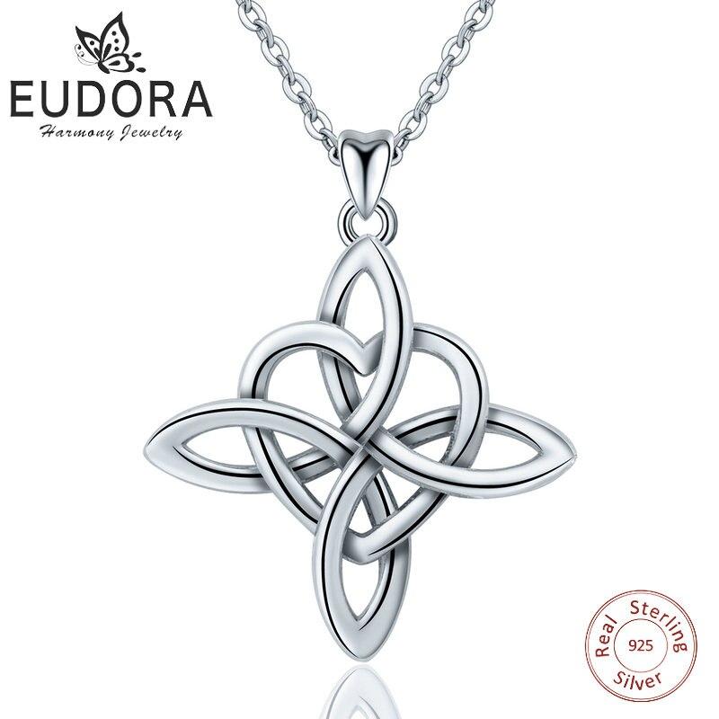 Eudora 925 Sterling Silver Geometrical line Heart Pendant Neckalce Irish Celtics Love Knot Necklace Fine jewelry For Women Gifts