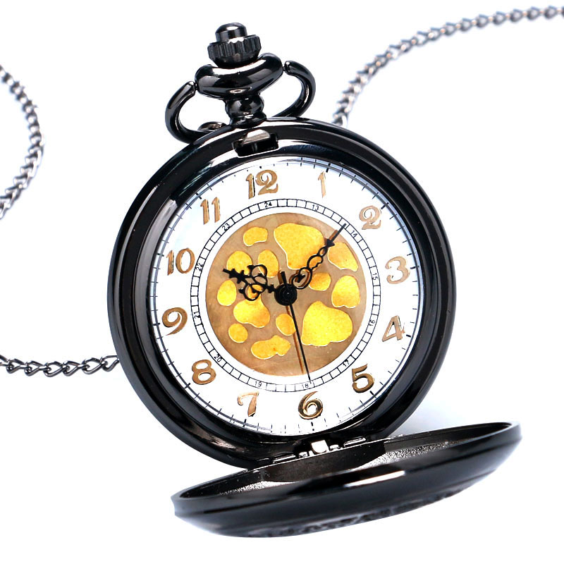 New Fashion Black Hollow Quartz Steampunk Pendant Pocket Watch With Chain Necklace Free Shipping
