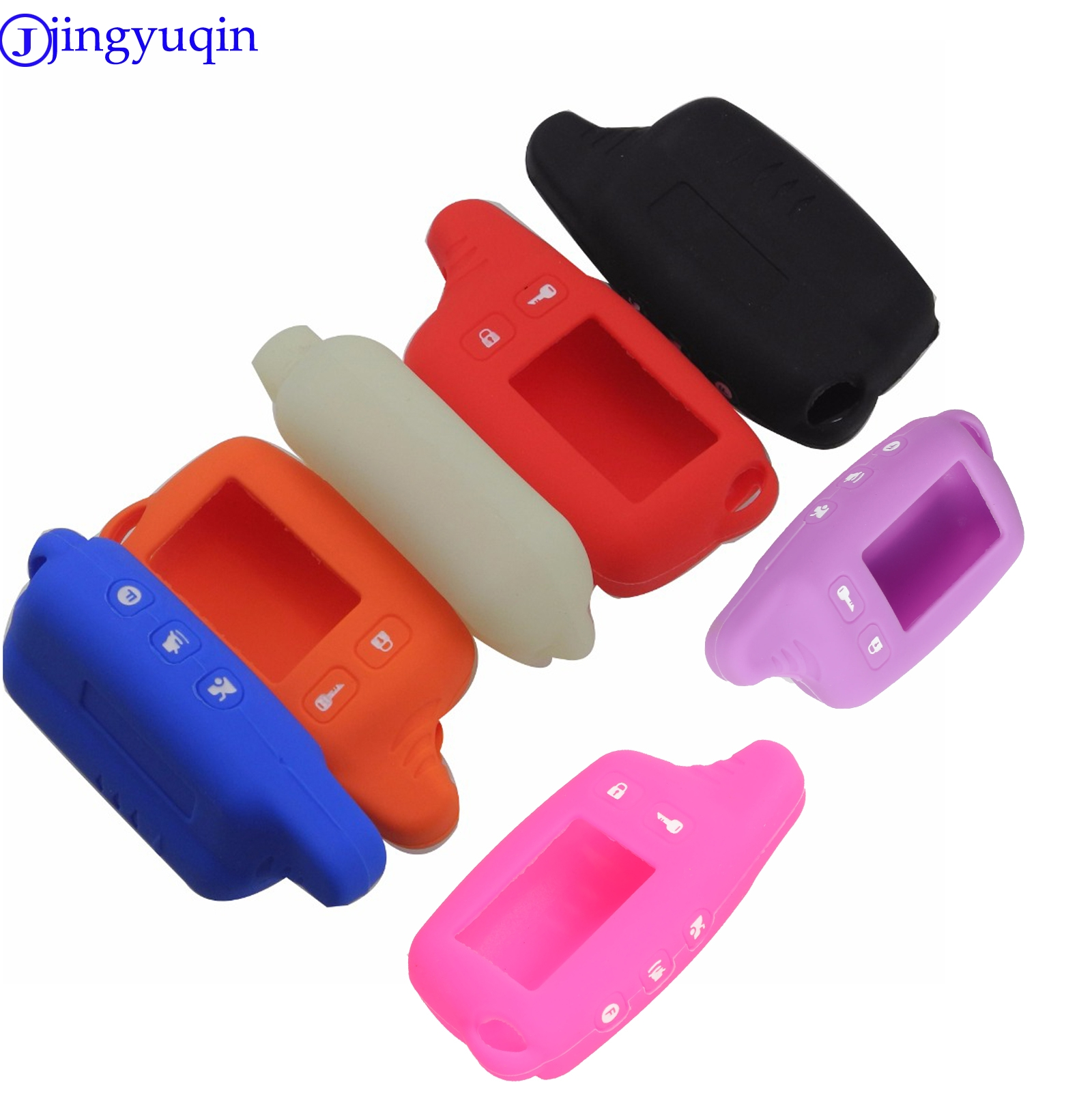 Jingyuqin Keychain Alarm-System Silicone-Case Tw9010 Tomahawk for Russian 2-Way Fob