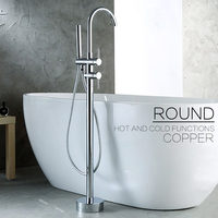 Contemporary Single Holder Dual Control Waterfall Tub Mixer Standing Floor Mount Bathtub Faucet Gappo Shower