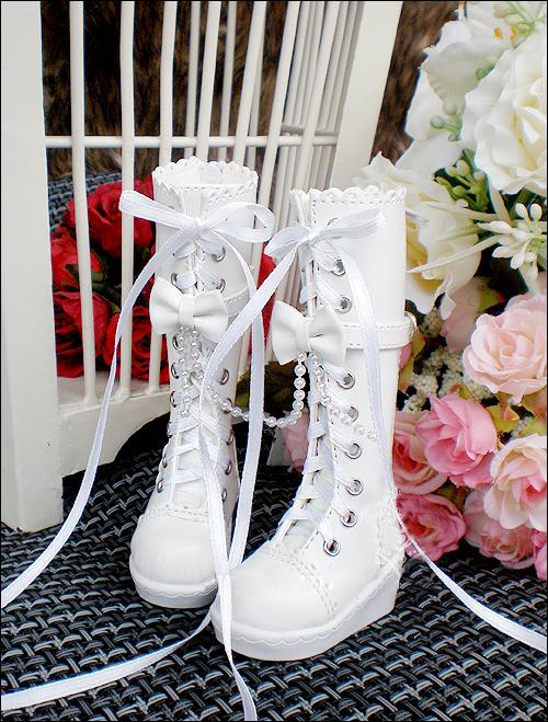 D01-P148 children handmade toy 1/3 1/4 Doll Accessories BJD/SD doll shoes Beaded Bow Lace White brown Boots 1pair