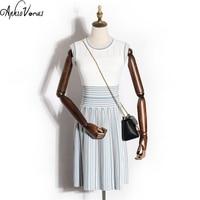 Sparshine New Fashion Women Dress Elegant Lady Summer Sleeveless Blue Striped Patwork Knitting Cotton Dresses Pleated