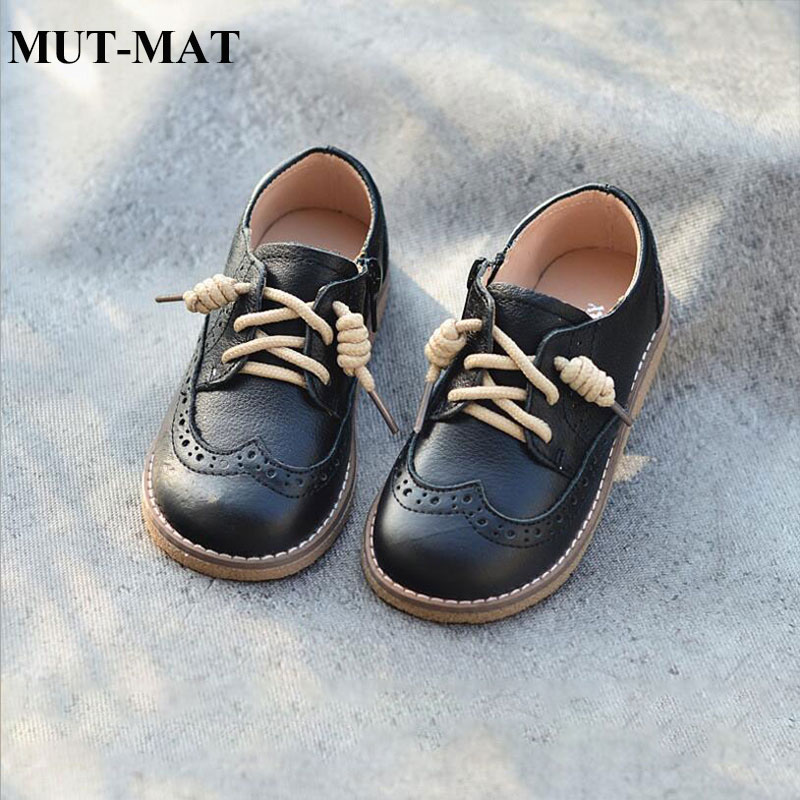 2019 New Children's Genuine Leather Casual Shoes Retro British Baroque Boys Fashion Shoes Princess Leather Shoes