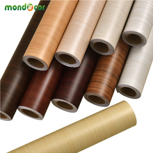 цена на 60*500cm Waterproof fabric stickers roll vinyl PVC wallpaper furniture wood grain paper self adhesive film wardrobe door sticker
