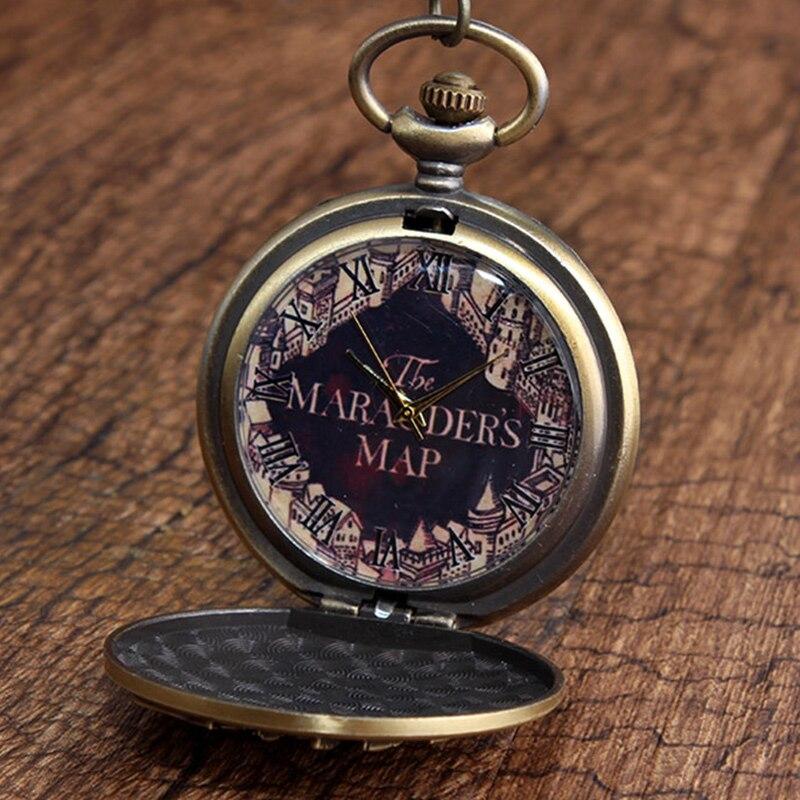 Retro The Marauders Map Bronze Pocket Watches Vintage Sculpture College Building Pattern Quartz Pocket Watch FOB Necklace Chain
