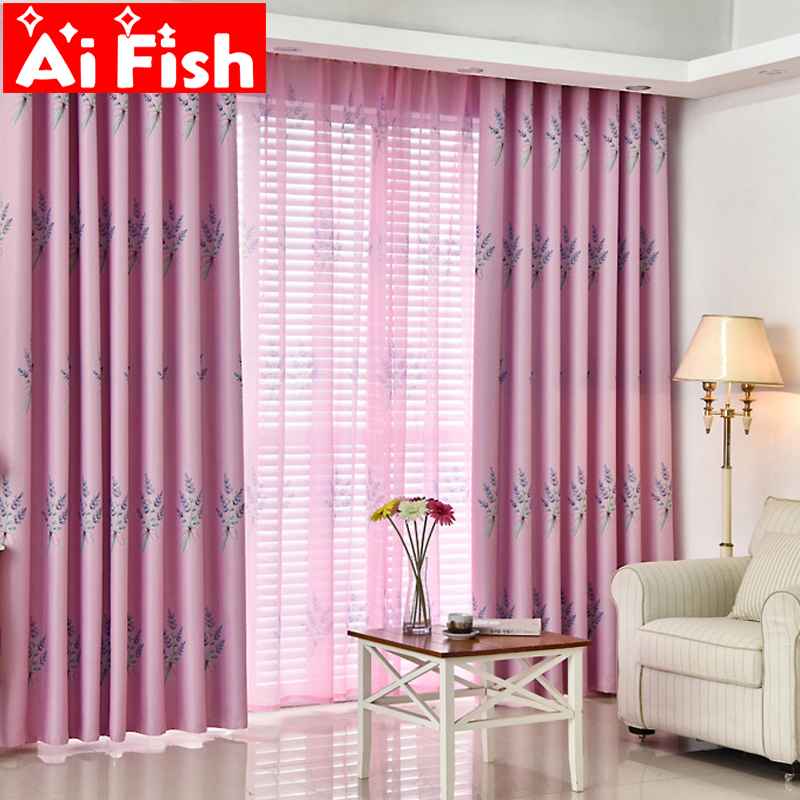 Pastoral romantic pink lavender tulle drapes green blackout curtains for living room blue print for Lavender curtains for living room
