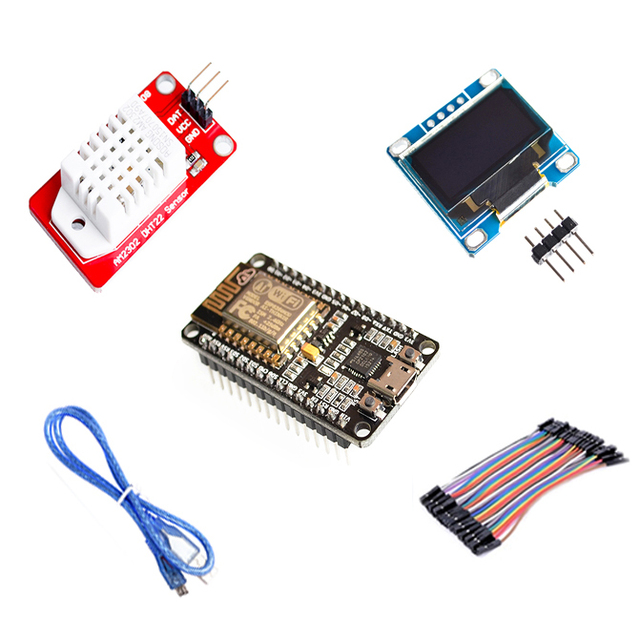 US $10 0 |ESP8266 WIFI Starter DIY Kit for arduino NodeMCU Wireless 0 96  OLED Display module DHT22 AM2302 Temperature/ Humidity Sensor-in Integrated